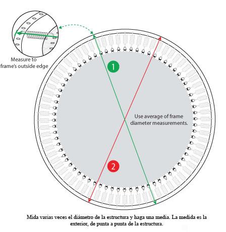 medir el diámetro de una cama elástica