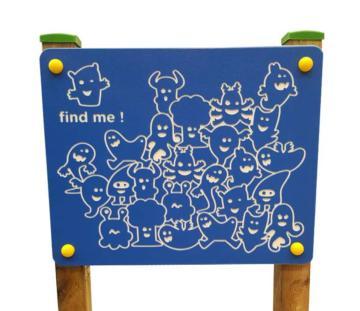 Paneles de juego de exterior encuéntrame, como el famoso juego de ¿Dónde está Wally?