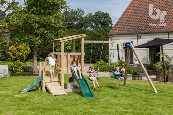 parque infantil con tobogn y columpio mini cascade blue rabbit torre kiosko