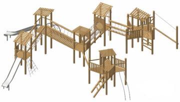 Parque infantil de madera natural de robinia ALBI