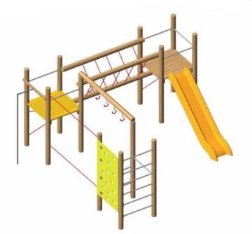 Parque infantil de madera natural robinia Fortress
