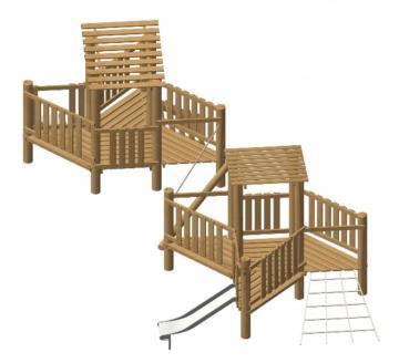 Parque infantil madera natural de robinia Soca