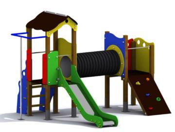 Parque infantil Modena es bonito y muy completo, tiene trepador, tobogan, barra de bombero...
