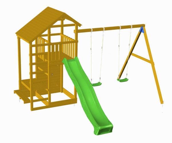 Parque infantil masgames teide con columpio doble - Parque infantil de madera ...