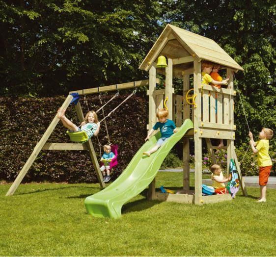 Parque infantil torre kiosk xl con columpios - Columpio madera jardin ...
