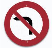 Señal de prohibido girar a la izquierda