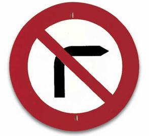 Señal de prohibido girar a la derecha