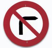 Sinal de proibido virar à direita