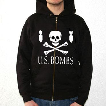 U.S. BOMBS Skull and Bombs Hooded Zip / Sudadera c. capucha