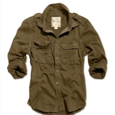 SURPLUS Raw Vintage Shirt longsleeve olive washed / Camisa oliva desgastada Talla S
