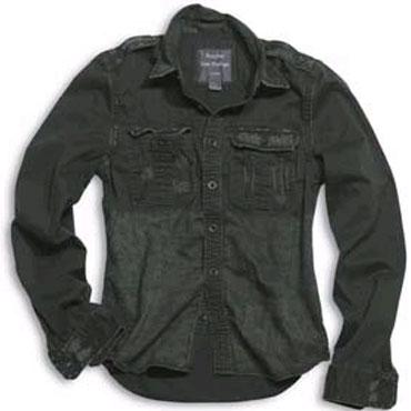 SURPLUS Raw Vintage Shirt longsleeve black washed / Camisa negra desgastada