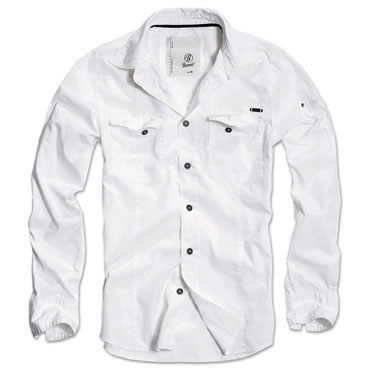 BRANDIT Men Slimfit Shirt WHITE