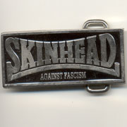 SKINHEAD AGAINST FASCISM Belt Black Buckle