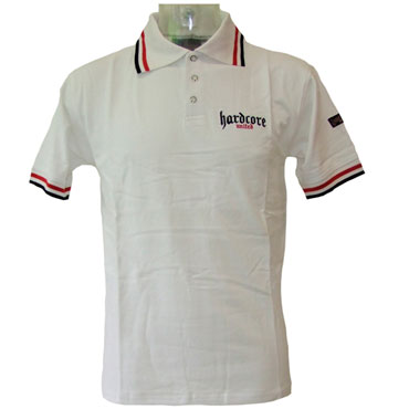 HARDCORE UNITED Short Sleeve Poloshirt MASTER Blanco
