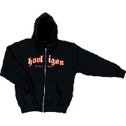 HOODED SWEAT JACKET CLASSIC Black with embroidery / HOOLIGAN STREETWEAR
