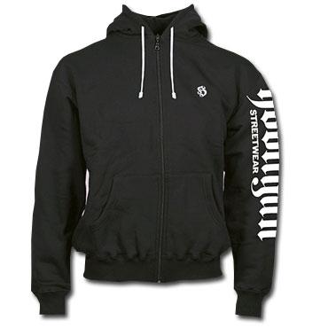 Sudadera HOODED SWEATJACKET SLEEVER BLACK Hooligan Streetwear
