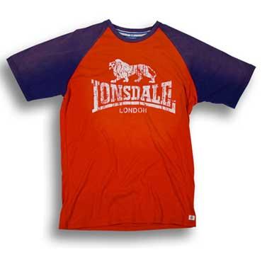 LONSDALE Slimfit T-shirt RAGLAN LION Red / Navy