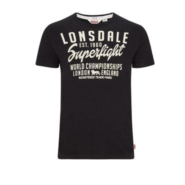 LONSDALE DARENTH Men Slim Fit Camiseta Negra
