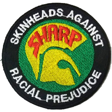 SHARP logo color parche skinheads against racial prejudice