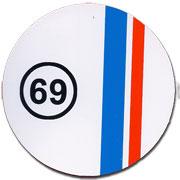 69 Round White Background Red & Blue Stripe Sticker