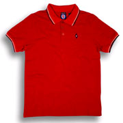 SPIRIT OF 69 Slim Fit Tipped Polo FENTON Dark Red / Polo Negro