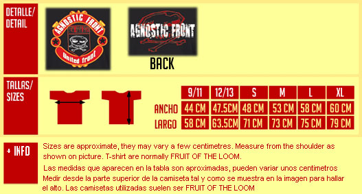 AGNOSTIC FRONT United Front Tshirt
