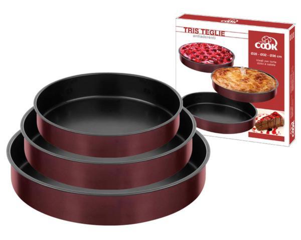 Set de 3 fuentes redondas de horno con interior antiadherente - Fuentes para horno ...