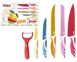 Set 6 cuchillos cocina teflón colores