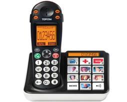 Topcom Teléfono teclas grandes sologic b935, display lcd alfanumérico matriz de punto extra grande, manos libres