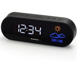 Audiosonic Estación meteorológica con radio control+ radio reloj despertador. Reloj 12/24 h. Alarma dual