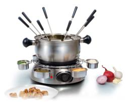 Tristar Set de fondue eléctrica completo, acero inox, para 8 personas, capacidad 1 l., anillo rotatorio con 6 bandejas