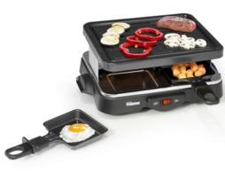 Tristar Parrilla raclette grill eléctrica gourmet, antiadherente, con 4 bandejas inferiores para fundir