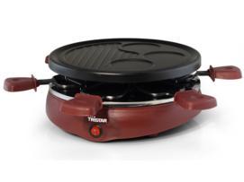 Tristar Raclette para 6 personas, 6 sartenes, placa de la parrilla, integrado crepera 3 piezas, recubrimiento antiadherente