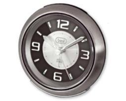 Trevi Elegante reloj despertador retro con cuerpo de acero inox. Led de luz de fondo, snooze/light button/ dial grande