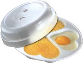 Recipiente redondo de 20 cm diámetro con tapa para cocción en microondas, con 4 departamentos en forma de corazón