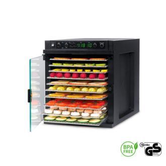 El Sedona Express Metal dispone de diez compartimentos y tres programas para deshidratar los alimentos a diferentes temperaturas, entre los 25 y los 75 ºC. Además, viene equipado con: 11 bandejas inox, puerta de vidrio horizontal, luz interior LED, etc