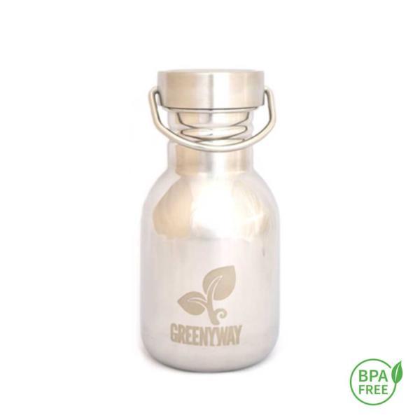 De atractivo diseño, ligeras , sin BPA ni pfalatos las botellas de acero inoxidable Greenyway son perfectas para utilizar en la oficina, llevar en el bolso, para actividades deportivas o como botellas infantiles. Botella reusable de acero inoxidable