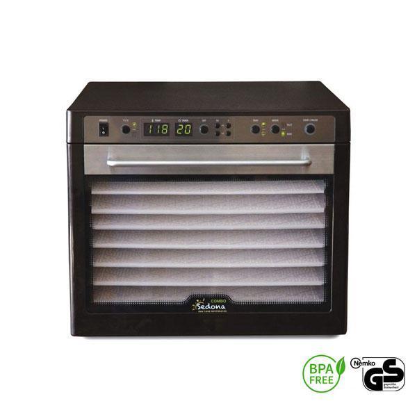 El Sedona Combo dispone de nueve compartimentos y tres programas para deshidratar los alimentos a diferentes temperaturas, entre los 30 y los 68 ºC.
