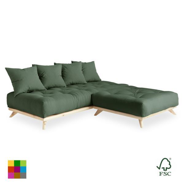 Sofá cama Senza chaise longue natural