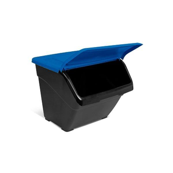 Contenedor para reciclaje doméstico Eco-box: azul para papel, amarillo para envases y verde para vidrio.