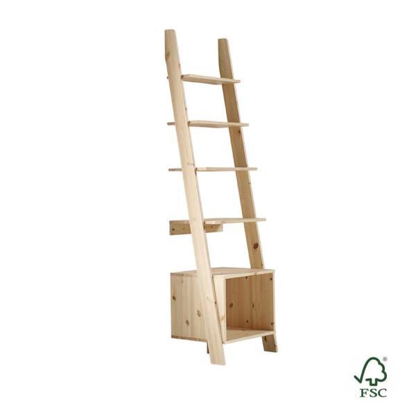 La escalera de madera Vocal es un accesorio de pared ideal el salón, muy útil para decorar tu espacio con un toque natural y de diseño.