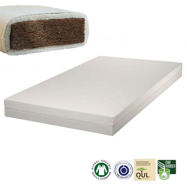 El colchón infantil de fibra de coco Alex Plus dispone de 8 cm de grosor de fibra de coco, que lo convierte en transpirable y firme. El núcleo está envuelto por una gruesa capa de lana natural de oveja o por una gruesa capa de algodón