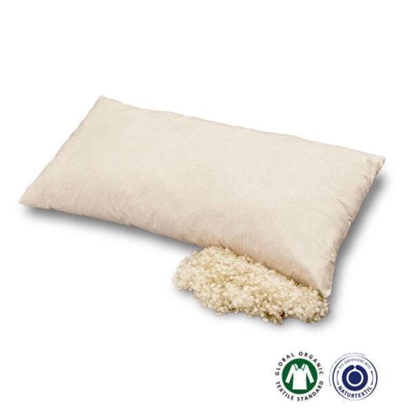La almohada de lana virgen Prolana incluye una suave funda exterior de algodón orgánico de gran pureza antialergias.