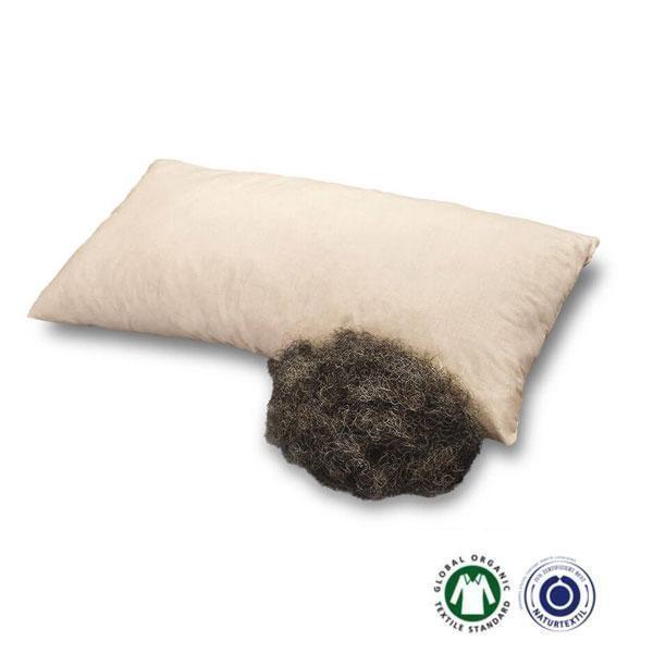 La almohada rellena de crin de caballo Baumberger es una alternativa natural de la más alta calidad para un descanso saludable.