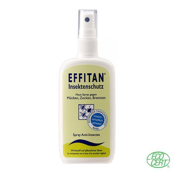 El spray Effitan Anti Mosquitos natural está elaborado con aloe vera, aceite de coco y otros ingredientes 100% de origen natural, el 26% de ellos de provenientes de agricultura ecológica.
