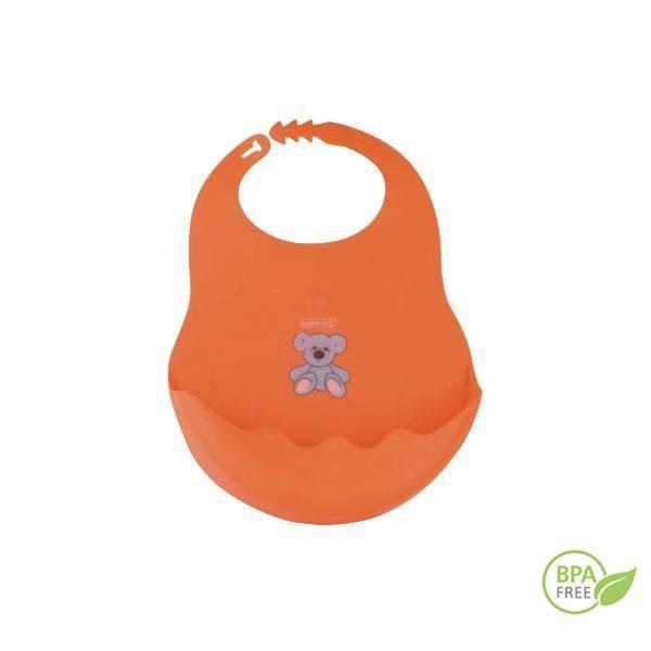 Babero de caucho EVA libre de BPA. Ajustable en 3 posiciones y con un amplio depósito para que no caiga nada al suelo.