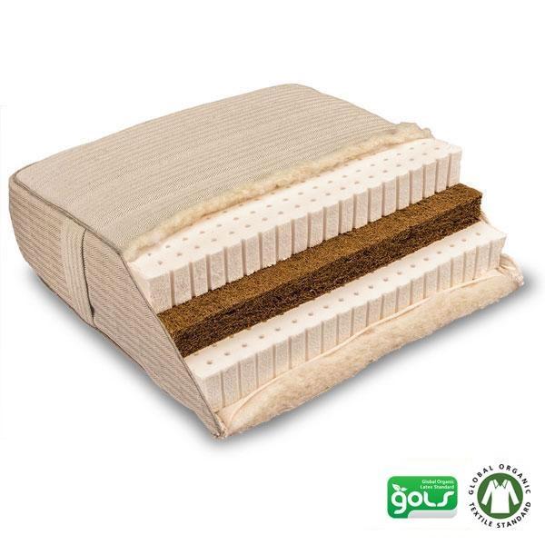 Piuma Coko es un colchón de látex natural y fibra de coco hecho artesanalmente con materiales naturales certificados