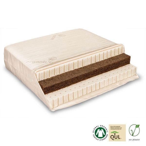 Colchón ecológico de látex natural y fibra de coco combinado con materiales naturales fabricado en Alemania