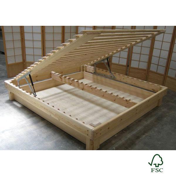Cama somier madera fustaforma con arc n abatible - Hacer una cama abatible ...