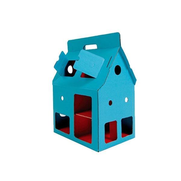 Casita cartón reciclado Mobilehouse azul